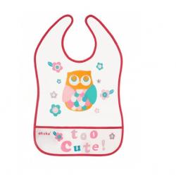 Plastový podbradník / zásterka s vreckom Owl - malinový
