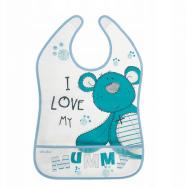 Akuku Plastový podbradník / zásterka s vreckom Teddy Bear - modrý