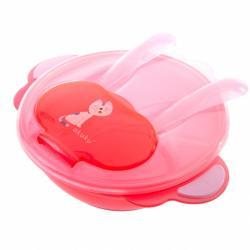 Dětská miska se lžičkou a vidličkou Akuku kočka červená