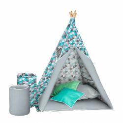 Detský luxusné stan s výbavou Teepee Akuku tyrkysovo-šedý