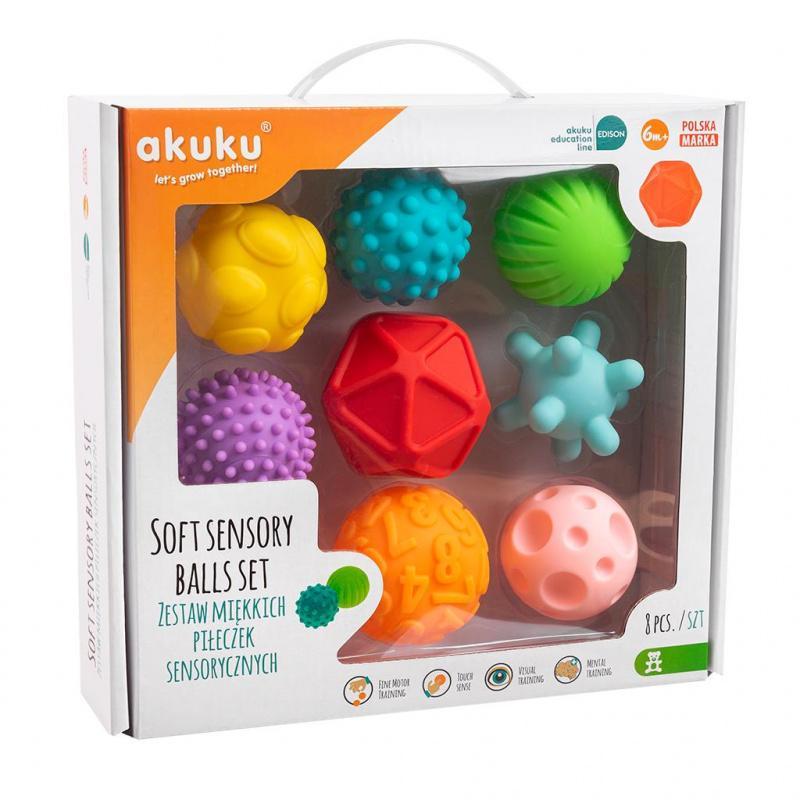 Sada senzorických hračiek 8ks Akuku balóniky