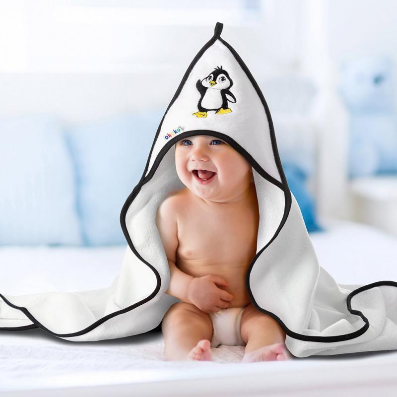 Dětská osuška 100x100 Akuku bílá se tučnákem