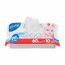 Dětské vlhčené ubrousky Akuku 99% vody 60 + 10 ks ZDARMA