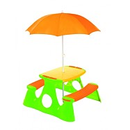Piknikový stolek + lavice se slunečníkem