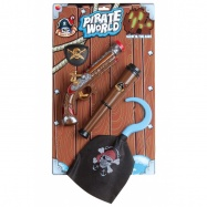 Pirátská sada, hák, bambitka, dalekohled, oko