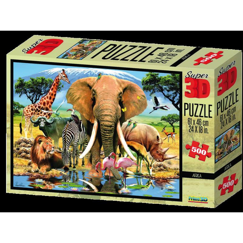 Puzzle 3D 500 dílků zvířátka, Afrika a podvodní svět