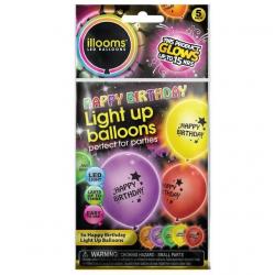 Nafukovacie balóniky svietiace Happy Birthday 4 ks