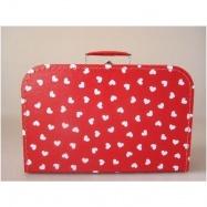 Kufrík červený s bielymi srdiečkami