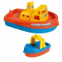 Androni Loď se sirénou a malým člunem - délka 39 cm, červená paluba