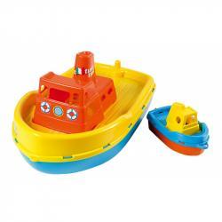 Androni Loď so sirénou a malým člnom - dĺžka 39 cm, žltá paluba