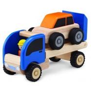 Dřevěné mini odtahové auto