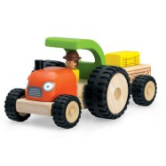 Dřevěný mini traktor s vlečkou