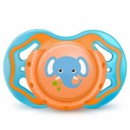 Ortodontický silikonový dudlík 6m+ s krytem Sloník - oranžová/modrá