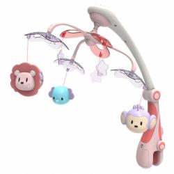 Kolotoč nad postýlku se světelným projektorem Baby Mix safari růžový