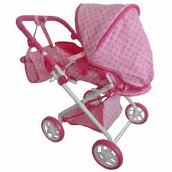Detský kočík pre bábiky 2v1 Baby Mix ružový s kvietkami