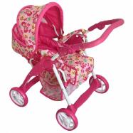 Dětský kočárek pro panenky 2v1 Baby Mix růžový - motýlci