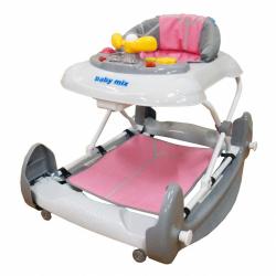 Detské chodítko s hojdačkou a silikónovými kolieskami Baby Mix ružové