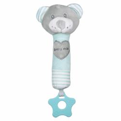 Dětská pískací plyšová hračka s kousátkem Baby Mix medvěd mátový
