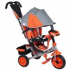 Detská trojkolka s LED svetlami Baby Mix Lux Trike šedo-oranžová