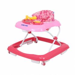 Detské chodítko Baby Mix s volantom a silikónovými kolieskami dark pink