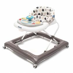 Detské chodítko Baby Mix s volantom a silikónovými kolieskami šedo-biele