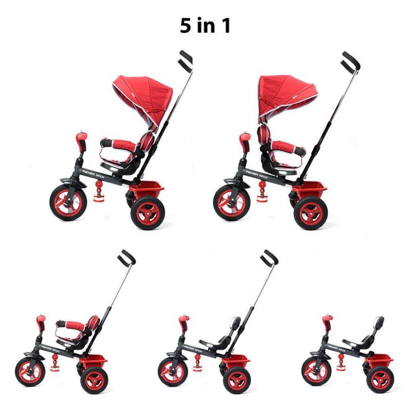 Dětská tříkolka Baby Mix 5v1 RIDER 360° šedá