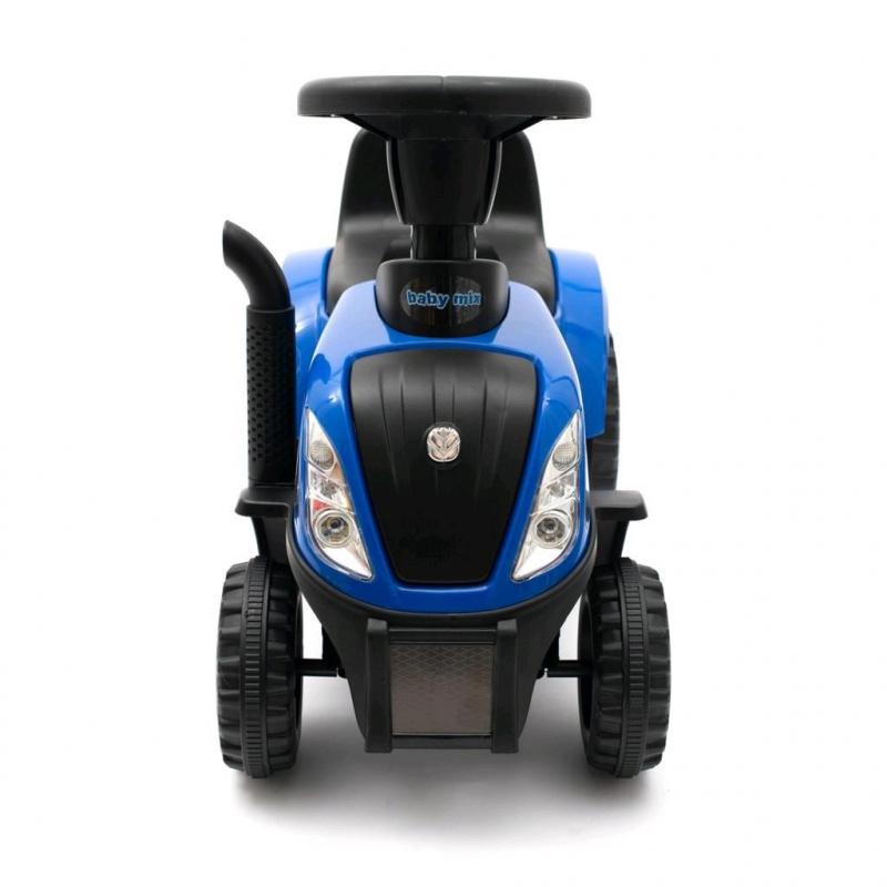 Detské odrážadlo traktor s vlečkou a náradím Baby Mix New Holland žltý
