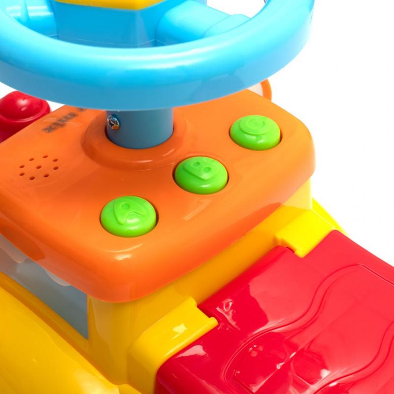 Detské odrážadlo so zvukom Baby Mix Vláčik žlté
