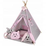 Stan pre deti típí s veľkou výbavou - sivý, ružový