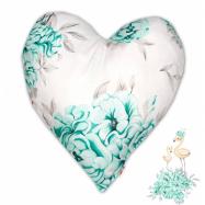 Bavlněný dětský dekorační polštář, Srdíčko - Plameňák mátový