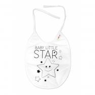 Nepremokavý podbradník veľký Baby Little Star, 24 x 23 cm - biela