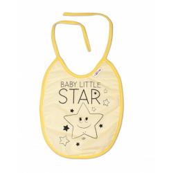 Nepremokavý podbradník veľký Baby Little Star, 24 x 23 cm - žltá