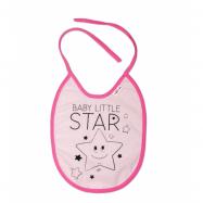 Nepremokavý podbradník veľký Baby Little Star, 24 x 23 cm - ružová
