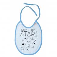 Nepremokavý podbradník veľký Baby Little Star, 24 x 23 cm - sv. modrá