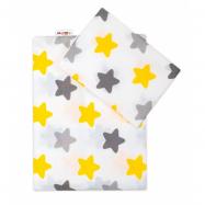 2 - dílné bavlněné povlečení Barevné hvězdičky - žluté/šedé, 135x100