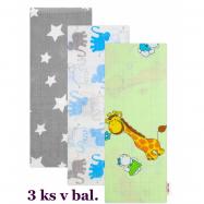 3 ks Kvalitní bavlněné plenky s potiskem 70 x 80 cm