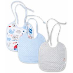 Baby Nellys Detský podbradník obojstranný / dvojvrstvový, súprava 3 ks - modrý / šedý