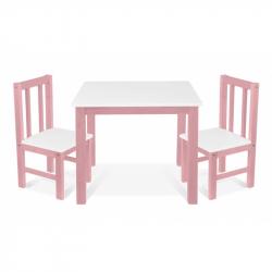 Dětský nábytek - 3 ks,  stůl s židličkami - růžová , bílá