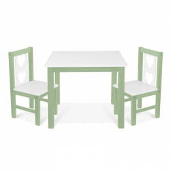 Dětský nábytek - 3 ks,  stůl s židličkami - zelená , bílá