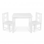 Dětský nábytek - 3 ks,  stůl s židličkami - bílý