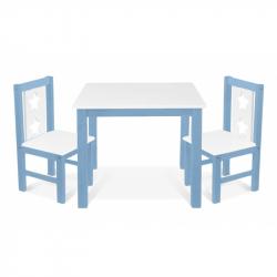 Dětský nábytek - 3 ks,  stůl s židličkami - modrá, bílá