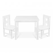 Detský nábytok - 3 ks, stôl s stoličkami - biely