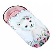 Detský fusak WINTER LUXURY velvet, 105 x 55 cm - medvedík / púdrovo ružová