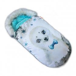 Fusak Baby Nellys Winter Friends Lux velvet s kožešinkou, 105x55 cm - lachtan / tyrkys