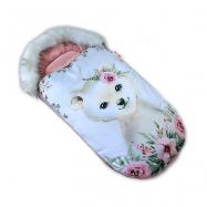 Fusak Baby Nellys Winter Friends Lux velvet s kožešinkou, 105x55 cm - medvídě / pudrově růž.