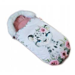 Fusak Baby Nellys Winter Friends Lux velvet s kožušinkou, 105x55 cm - gepardík / púdrová