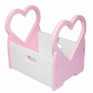 Dřevěný box na hračky Srdíčko - růžové