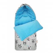 Bavlněný fusak Happy Panda, 45 x 95 cm - šedá / modrá