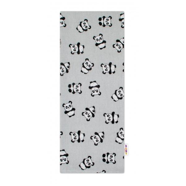 Kvalitní flanelová plenka, 70 x 80 cm - Pandy šedé