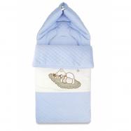 Bavlněný fusak s výšivkou, 45 x 95 cm - modrý